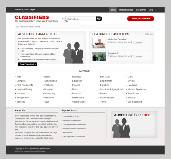 Templatic Classifieds WordPress Theme